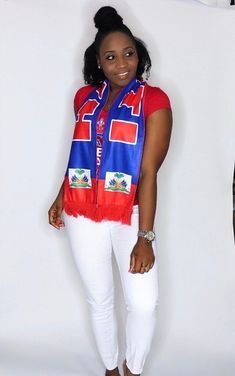 Haitian Flag scarf by Diversepride on Etsy