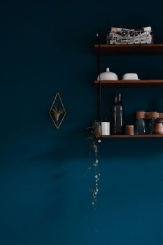 dark blue wall color in the kitchen - www.craftifair.com