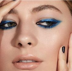 Shown are: Nars Glenan Velvet Shadow Stick and Cressida Dual Intensity Eyeshadow - Nail Art Designs Bold Eyeliner, Blue Eyeshadow, Blue Eye Makeup, Skin Makeup, Eyeshadow Makeup, Beauty Makeup, Golden Eyeshadow, Maybelline Eyeshadow, Blue Lipstick