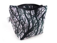 Handmade Tree Print Makeup Bag With Chunky Zip from maxandrosie.co.uk