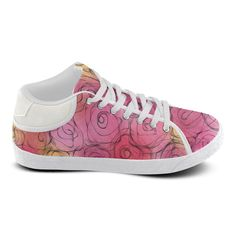 Red Pastel Roses. Inspired by the Magic Island of Gotland. Women's Chukka Canvas Shoes (Model 003)