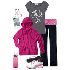 pink workout - created by daisy-weber on Polyvore