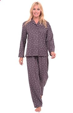db0bcbcb48 Del Rossa Women s 100% Cotton Flannel Pajama Set – Long Pjs (Grey with Pink