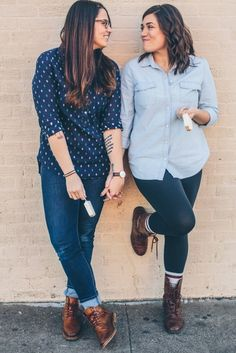 Lesbian engagement with denim blue jeans and ice cream | Texas Brunch-Inspired Lesbian Engagement | Equally Wed - LGBTQ Weddings