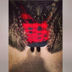 Bib necklace, flannel, fur vest, and wedge booties. Successful church outfit :)