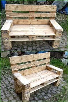 to Give Wood Pallets Second Life recycled-pallet-outdoor-benchrecycled-pallet-outdoor-bench Recycled Pallets, Wooden Pallets, Pallet Benches, Pallet Tables, 1001 Pallets, Pallet Seating, Pallet Couch, Recycled Materials, Pallet Boards