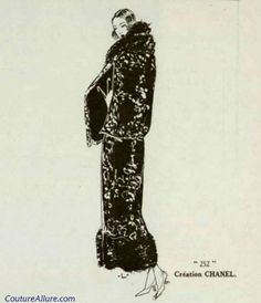 Chanel long straight coat in chestnut brown crepe embroidered in white and trimmed in Kolinsky fur, 1923.