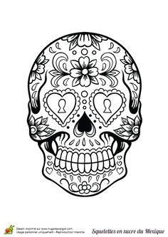 Une tête de mort fleurie avec des serrures à la place des yeux, à colorier.