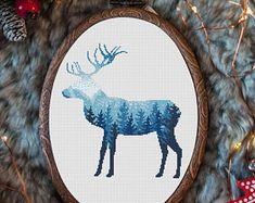 Animal Cross Stitch Pattern Nordic Deer Winter Cross Stitch Embroidery Deer Design Forest Double Exposure Cross Stitch Pattern PDF
