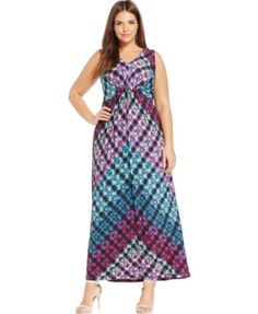 NY Collection Plus Size Printed Maxi Dress | macys.com