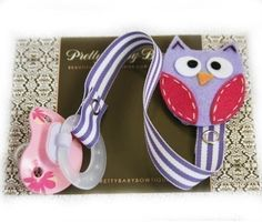 PACIFIER CLIP  Owl Paci Clip  Girl Binky by PrettyBabyBowtique, $8.95
