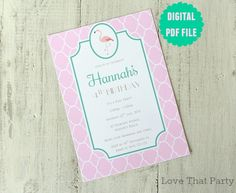 Image of PREPPY FLAMINGO INVITATION -Printable (digital file)