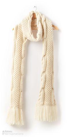 Honey Comb Twist Knit Super Scarf - Patterns | Yarnspirations