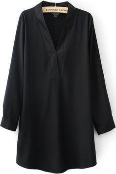 Vestido suelto cuello pico-negro 19.35