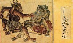 Mehmet Siyah Kalem. Bazı araştırmacılar bu resimlerin meddah hikayelerini, masalları betimlemek için çizilmiş olduğunu, bazı araştırmacılar ise Timur devletinde kitapların kapağı olarak çizildiğini düşünmektedir. Fotoğraf:www.resimkalemi.org
