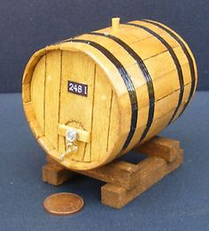 Miniature Dollhouse Beer Barrel on stand 2 pieces