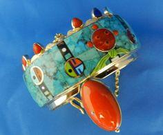 Turquoise Navajo Sun Face and Mudhead Bracelet is made of Morenci, Kingman, Bird's Eye, Battle Mountain and Sleeping Beauty turquoise.