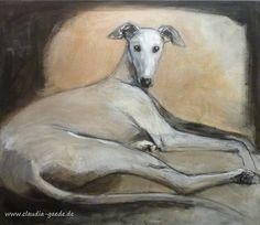 Greyhound or Galgo, mMixed media on canvas, 60 x 70 cm by Claudia Gaede