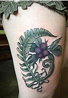 Fern and blackberries by Alice Kendall at Wonderland Tattoo Studio in Portland, OR.
