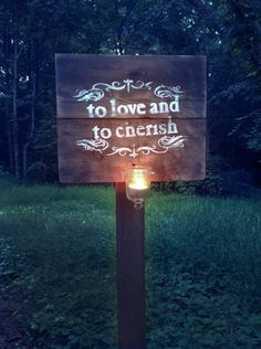 @Marci Mares - To Love and Cherish Wedding post sign. $100.00, via Etsy. - really?  $100?
