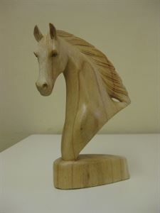 Picture of Carved wooden horse bust.