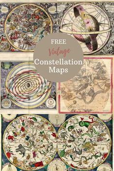 A gorgeous collection of constellation map posters that are free to download and print. These are lovely illustrated celestial charts of the stars. #starchart #constellations Celestial Sphere, Celestial Map, Ursa Minor, Constellation Map, Free Maps, Picture Boxes, Ecole Art, Star Constellations, Star Chart