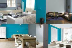 Bleu Turquoise Et Gris En 30 Idées De Peinture Et Décoration Salon Bleu,  Salons,