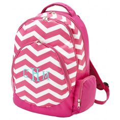 Monogrammed Backpack - Pink Chevron ($38.95)
