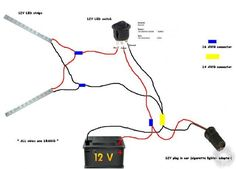 connecting led strip to 12 volt car battery power supply wiring diagram - Google Search