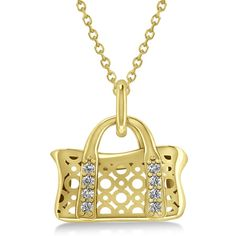 Allurez Purse Pendant Necklace with Diamond Accents 14k Yellow Gold... ($750) ❤ liked on Polyvore featuring jewelry, necklaces, yellow, cross necklace, gold chain necklace, gold necklaces, yellow gold pendant and gold pendant