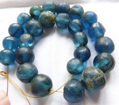 25 Rare Ancient Round Roman Blue Glass beads, excavated in Mali