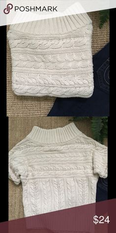 EXPRESS Open Neck Cable Knit Sweater Gently used condition. EXPRESS cream open neck Cable Knit Sweater. Express Sweaters Crew & Scoop Necks