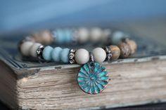 MAY SALE Beaded Stack Stretch Bracelet Rustic door MossyCreekStudio