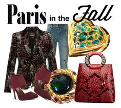 """PARIS IN THE FALL"" by francoisefortier ❤ liked on Polyvore featuring Yves Saint Laurent, Roberto Cavalli, Donald J Pliner and vintage"