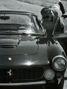 "steve and his ferrari – GT Lusso"" whose No is 1 F C O O 7 ! steve owned a ferrari gt[. Steve Mcqueen Cars, Steven Mcqueen, Porsche, Bobber, Steeve Mac Queen, Harley Davidson, Dream Cars, Continental, Fast Cars"