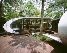 Really love the curves.  Go to the link to appreciate this fantastic design.  http://diariodesign.com/2010/10/shell-residence-en-japon-una-casa-de-ciencia-ficcion-que-supera-el-paisaje/