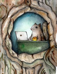 "Squirrel with coffee and spreadsheet, squirrel watercolor, cute squirrel, squirrel painting, funny squirrel, nerdy squirrel, busy squirrel, woodland creatures, acorn art, ""checkin' stats"""