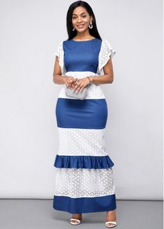 African Lace Dresses, African Fashion Dresses, Maxi Dress With Sleeves, Short Sleeve Dresses, Lace Skirt, Panel Dress, Necklines For Dresses, Patchwork Dress, Colorblock Dress