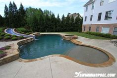 Freeform swimming pool with beach entry or baja shelf/tanning ledge