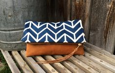 Genuine Leather // Chevron Tribal Fabric // Clutch by indigosoulcompany on Etsy