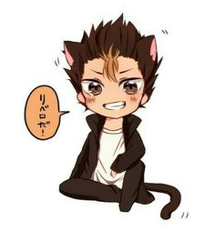 ( ͡° ͜ʖ ͡°) Nishinoya Yuu, Haikyuu Nishinoya, Haikyuu Anime, Kagehina, Kawaii Chibi, Cute Chibi, Anime Chibi, Manga Anime, Neko