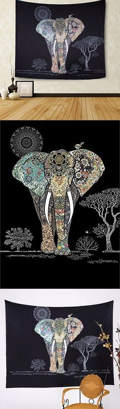 CHICVITA Elephant Tapestry Wall Hanging Decor Indian Home Hippie Bohemian Tapestry for Dorms (Black)