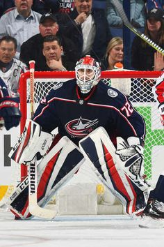 COLUMBUS, OH - APRIL 17: Goaltender Sergei Bobrovsky #72 of the Columbus Blue Jackets defends the net in Game Three of the Eastern Conference First Round against the Washington Capitals during the 2018 NHL Stanley Cup Playoffs at Nationwide Arena in Columbus, Ohio. (Photo by Jamie Sabau/NHLI via Getty Images)