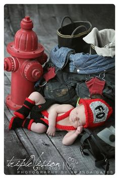 Newborn Fire Fighter Helmet Hat Suspenders Diaper Cover and Boots Photo Prop Set on Etsy, $50.00