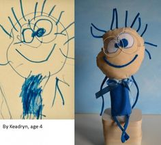 What a great end to your child's art! This is amazing...just send in the drawing to this blog/site and you'll get an awesome stuffed toy in return! =) I think this woman will be overwhelmed with how popular this will be!