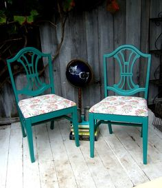 Pretty teal vintage chairs with floral fabric