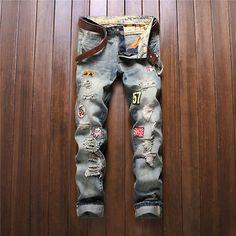 Herrenmode-DenimJeans-Flut-Maennlich-Bikerhose-Retro-Getragen-Jeans-Patch-777