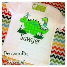 Dinosaur Birthday Tee -- Can do ANY color scheme!  $25.99 Includes Personalization!