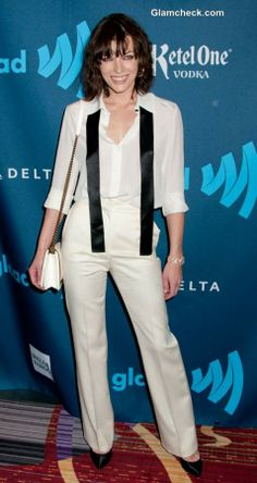 Vision in White: Milla Jovovich Sports Classy Androgynous Look at GLAAD Awards Milla Jovovich, Androgynous Look, Lust, People, Awards, Classy, Hollywood, Celebs, Blazer