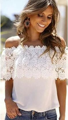 6bf7f5d2396 Plus Size S-XXL Blusas 2016 Summer Style Women Sexy Tops Casual Off  Shoulder Blouse Chiffon Lace Floral Blouse Solid Shirts